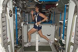 Expedition 32 Flight Engineer Sunita Williams exercises on COLBERT
