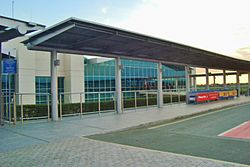 Exterior of Larnaca Airport during afternoon Cyprus.JPG