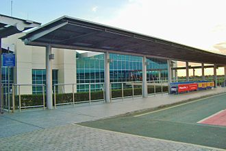 Larnaca International Airport - Image: Exterior of Larnaca Airport during afternoon Cyprus