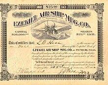 Ezekiel Air Ship stock certificate