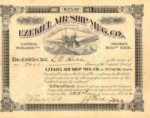 Scripophily - Image: Ezekiel Air Ship stock certificate 1902