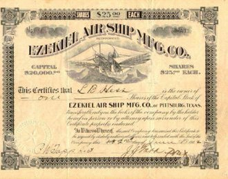 Scripophily - Ezekiel Air Ship stock certificate