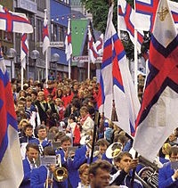 The annual ólavsøka parade on the 28th of July