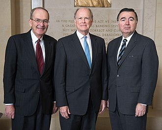 Federal Reserve Bank of Philadelphia - Former Presidents of the Philadelphia Fed (left to right) Edward Boehne (1981–2000), Charles Plosser (2006–2015), and Anthony Santomero (2000–2006)