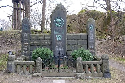 Grave of Hans Gude and family at the honorary burial ground in Var Frelsers gravlund, Oslo. Among the familymembers resting there are also Ove Gude and Nils Gude. Familien Gude, gravminne pa Var Frelsers gravlund, Oslo, bilde 3.JPG