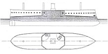 A simple drawing of a warship showing the central arrangement of the guns and armor scheme.