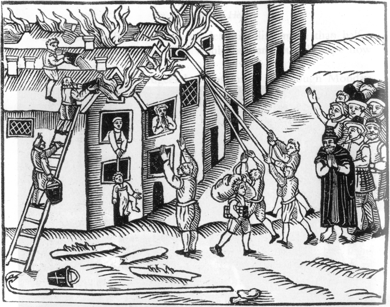 Woodcut image showing how firehooks are used to help tear down buildings to stop fires from spreading, as seen during a fire at Tiverton in Devon, England, 1612
