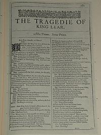 Faksimiler af første side i The Tragedie of King Lear fra First Folio, publiceret i 1623