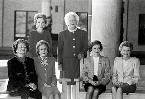 First Lady of the United States - First Ladies Nancy Reagan, Barbara Bush (standing, left to right), Lady Bird Johnson, Pat Nixon, Rosalynn Carter, and Betty Ford (seated, left to right) at the dedication of the Ronald Reagan Presidential Library, November 1991