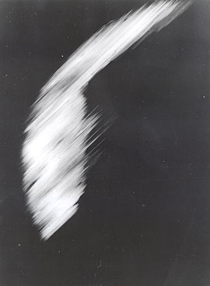 Explorer 6 - The first image taken by Explorer 6 shows a sunlit area of the Central Pacific Ocean and its cloud cover. The photo was taken when the satellite was about 17,000 mi (27,000 km) above the surface of the earth on August 14, 1959. At the time, the satellite was crossing Mexico.