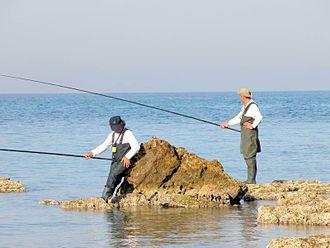 Rock fishing - Tranquil rock fishing in Israel