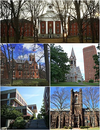 Five College Consortium - Clockwise from top: Amherst College, University of Massachusetts Amherst, Mount Holyoke College, Hampshire College, Smith College.