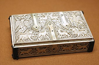 A flat casket carved out of ivory from Al-Andalus (Islamic Spain), c. 1050 Flat casket Cuenca Louvre OA2775.jpg