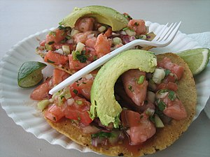 Cuisine of California - Shrimp tostadas made with locally grown ingredients as served at Tacos Sinaloa in Oakland, California