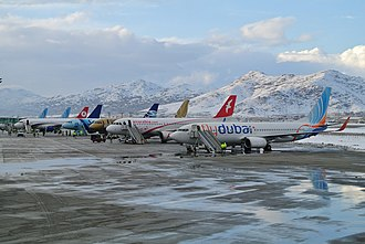 Hamid Karzai International Airport - Passenger jets parked at Kabul International Airport, 2012