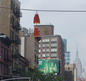 Shoe tossing - Pair of flippers (water footwear) hanging from a wire at 4th Ave. and E 10th St, New York, NY