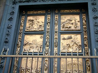 Bronze sculpture - Gilt-bronze doors of the Baptistry of Florence Cathedral (Lorenzo Ghiberti, 1401-22).