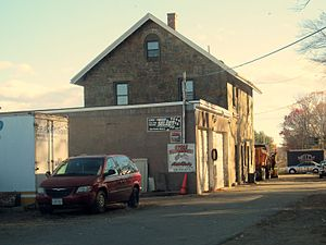Quincy Adams (MBTA station) - The extant station building at Avon, identical to the former station at Quincy Adams