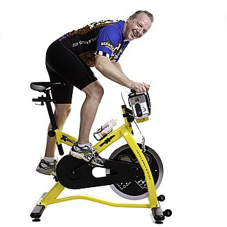 Indoor cycling - Typical fixed wheel ergonomically adjustable variable resistance bike
