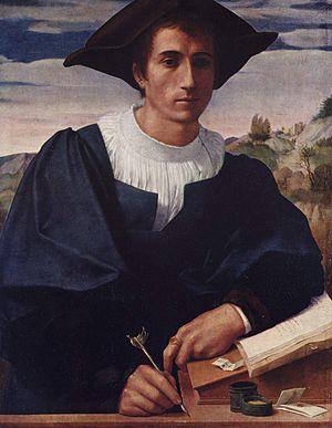 Franciabigio - Franciabigio's Portrait of a Young Man writing, 1522, Gemäldegalerie