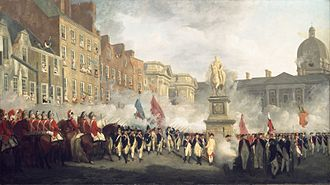 Irish Volunteers (18th century) - Painting by Francis Wheatley depicting the Dublin Volunteers on College Green.
