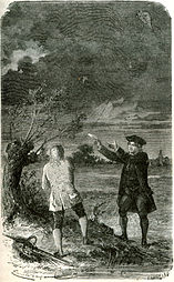 Franklin's experiment in a thunderstorm, engraving, 19th century