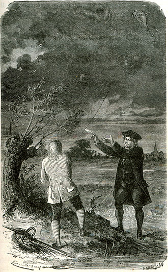 Electric spark - Benjamin Franklin drawing an electric spark to his finger from a key suspended from a kite string.