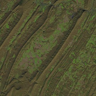 Colerain Township, Bedford County, Pennsylvania - 2016 Landsat image of Friends Cove
