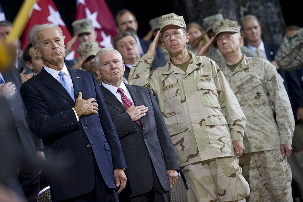 From left, Vice President Joe Biden, Secretary of Defense Robert M. Gates, Chairman of the Joint Chiefs of Staff Navy Adm. Mike Mullen and U.S. Marine Corps Gen. Gen. James Mattis, the commander of U.S. Central 100901-N-TT977-147