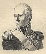 Black and white oval print shows a clean-shaven man in a high collared military uniform of the Imperial period.