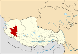 Location of Gê'gyai County within Tibet