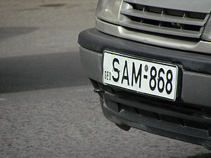Republic of Georgia vehicle registration plate.