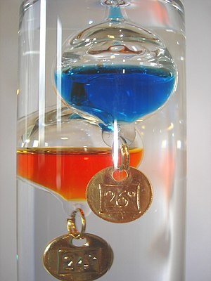 English: Galileo Thermometer detail. Français ...