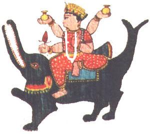 A sketch of the goddess Ganga on her Vahana (m...