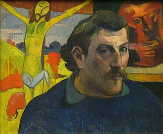 "The Yellow Christ - Self-portrait with the Yellow Christ (Autoportrait au Christ jaune), 1890-1891, by Paul Gauguin, oil on canvas, 38 x 46 cm, Musée d'Orsay, Paris, depicts the painting reversed, ""mirrored""."