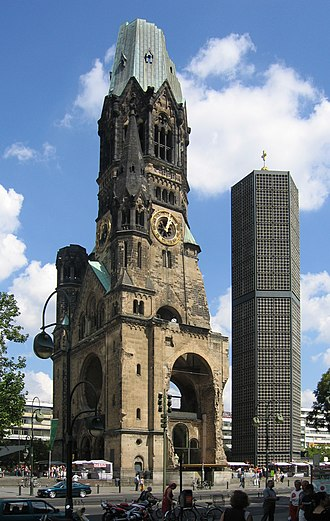 Kaiser Wilhelm Memorial Church - Ruin of the imperial church, not rebuilt as a reminder of World War II - and  the modern belfry that was added in 1963