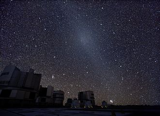 Gegenschein - The gegenschein appears in this image as a bright spot on the diagonal band (running top left to lower right) above the Very Large Telescope.