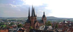 Ansicht von Gelnhausen, die Evangelische Marienkirche in der Bildmitte