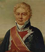 Painting shows a square-faced man with curly, light colored hair. He wears a dark blue military uniform with red lapels and a red sash over his right shoulder.