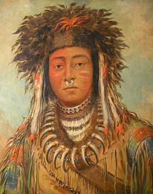 Ojibwe - An Ojibwe named Boy Chief, by the noted American painter George Catlin, who made portraits at Fort Snelling in 1835. In 1845 he traveled to Paris with eleven Ojibwe, who had their portraits painted and danced for King Louis Philippe.