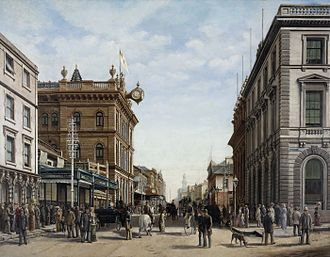 History of Sydney - George Street, Sydney by Alfred Tischbauer, 1883.