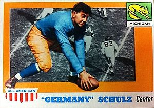 1907 Vanderbilt Commodores football team - Germany Schulz depicted on a football card, c. 1955