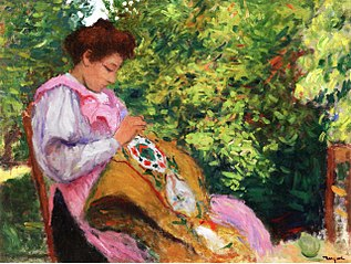 Girl Embroidering, Seated in a Garden