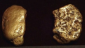 Central City, Colorado - Gold nuggets from the Central City District. They weigh 1.65 oz. (left) and 1.45 oz (right).