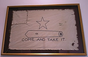 Texas Revolution - A reproduction of the original Come and take it flag, which flew during the battle of Gonzales