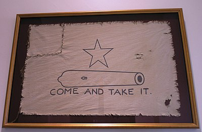 A reproduction of the original Come and take it flag, which flew during the battle of Gonzales Gonzales Flag.JPG