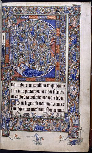 Beatus vir - The Tree of Jesse Beatus initial in the Gorleston Psalter, c. 1310, bordered by the royal arms of England and France (fol. 8r)