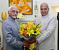 Governor of Assam Banwarilal Purohit calling on the Vice President M. Hamid Ansari.jpg