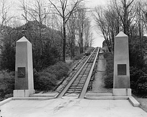 Oldest railroads in North America - 1934 photo of the incline section of the Granite Railway.