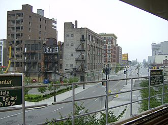 M-3 (Michigan highway) - View of Gratiot Avenue from Detroit People Mover station in Detroit